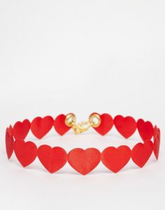 Image 1 ofSuzywan St Valentines Red Heart Choker Necklace
