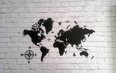 World Map Vinyl Wall Decal by Msapple on Etsy
