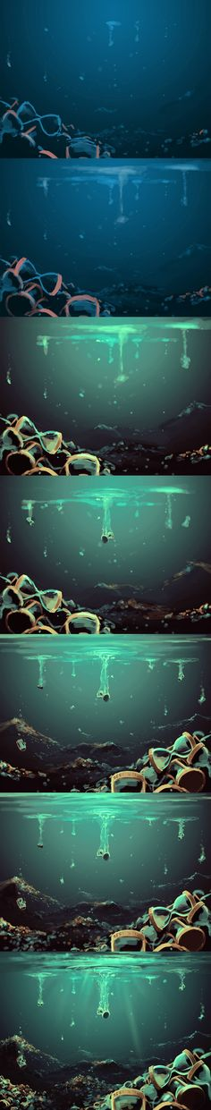 by `AquaSixio on deviantART/this would be a really cool idea for the pool of souls,where death keeps her souls in there flashing of thier lives in . Digital Art Tutorial, Digital Painting Tutorials, Art Tutorials, Arte Digital, Digital Drawing, Underwater Drawing, Painting Process, Process Art, Painting Tools