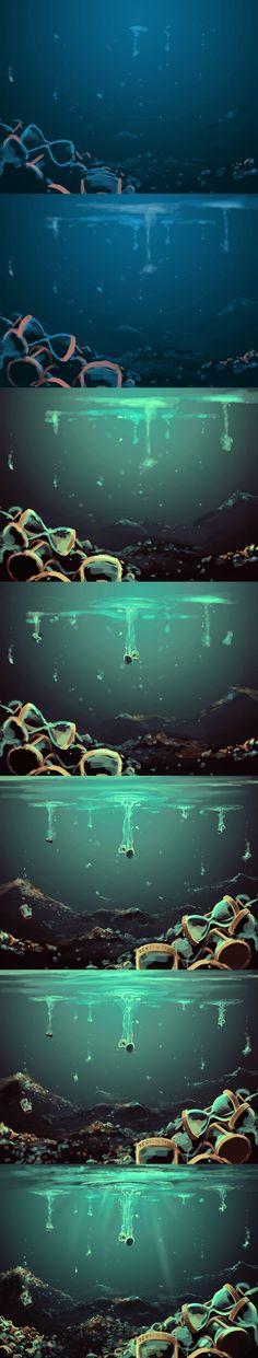 O Oceano das Ampulhetas é onde o tempo das pessoas chega ao fim; cada morto possui sua própria ampulheta e, esta, marca o tempo equivalente à vida da pessoa.