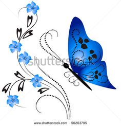 <b>Forget</b> <b>Me</b> <b>Not</b> <b>Flowers</b> And Vivid Background From Butterfly