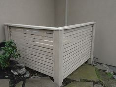 Hide that air conditioner... a clear-grade cedar stained in a Cape Cod grey  | Flickr - Photo Sharing!
