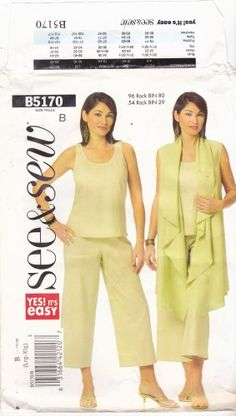 Check out that flouncy shawl collar on the vest! Butterick B5170 Pattern Uncut L XL 16 18 20 22 Top Vest Cover Up Pants
