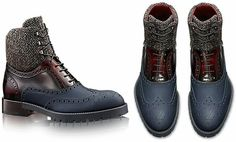 Tailor Fit top pick! Luis Vutton, leather wingtip, blue, burgundy and wool boots