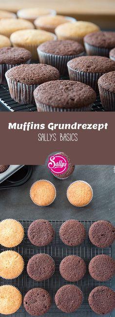 Mein Lieblings-Muffins-Grundrezept für sehr saftige, weiche Muffins, die auch als Grundlage für Cupcakes dienen.