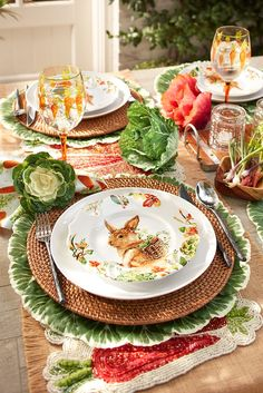 What better way to create a spring-inspired place setting than with a bunny plate on top? Pier 1's porcelain Lilly the Bunny Dinnerware is perfect for Easter dinner and all your springtime entertaining. Featuring Lilly with her signature basket backpack, this dinnerware will bring beautiful springtime flowers and vegetables to the table for all to enjoy.
