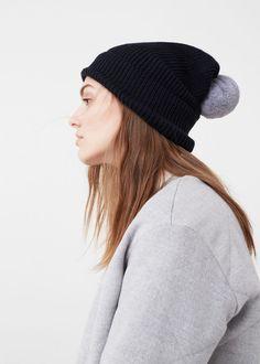Bonnet maille pompon | MANGO
