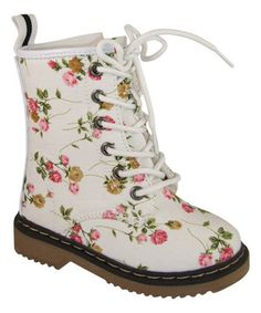 Another great find on #zulily! White Alyson Floral Boot by Link #zulilyfinds