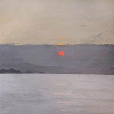 """kyffin williams, """"sunset"""" oil on canvas"""
