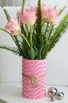 Straw Vase with Ferns and Tulips
