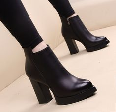 Cheap martin boots, Buy Quality high heels boots directly from China short boots Suppliers: Winter High Heel Boots Pointed Martin Boots Short Thick With Short Boot Women's Shoes Cute Ankle Boots, Chunky Heel Ankle Boots, Black Ankle Boots, High Heel Boots, High Heels, Ankle Booties, Boots For Short Women, Short Boots, High Heel Stiefel