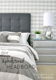 Detailed easy tutorial, plus it uses pegboard to make the tufting easier! DIY Tufted Upholstered Headboard Tutorial – TinySidekick.com for Remodelaholic.com