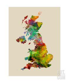 Great Britain Watercolor Map Photographic Print