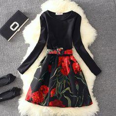 S/M/L 8 Colors Long Sleeve Bubble Dress SP164715 - SpreePicky  - 3