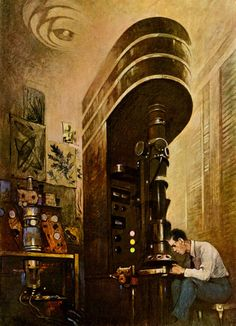 Electron Microscope from 1945 illustration by Thornton Oakley - Dark Roasted Blend
