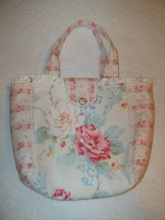 Vintage Pink Barkcloth Pink Cabbage Roses by FourSistersCottage, $46.00