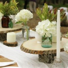 Rustic wood and mason jar centerpieces