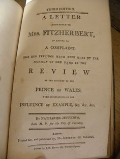 Next pamphlet in the debate of the Prince of Wales' behaviour takes on the mistress...Mrs. Fitzherbert...notice that it was in it's 3rd edition of printing