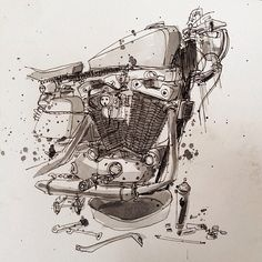 ART & DESIGN: Motorcycle illustrations by Tomas Pajdlhauser - Moto-Mucci Source by liziqiao Motorcycle Posters, Motorcycle Art, Motorcycle Design, Bike Art, Moto Enduro, Drawing Sketches, Drawings, Bike Drawing, Bike Sketch