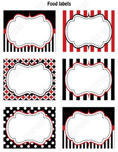 DIY Pirate  Birthday Party  PRINTABLE Food Labels favor tags Red black white  polka dots stripes. $4.00, via Etsy.