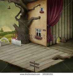 Fantastic background or illustration with room, tree and landscape.