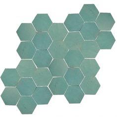zelliges-2 -> Zellige Turquoise Hexagone - Designtegels
