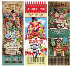 30 Circus Carnival Vintage TICKET Invitations Birthday Party #newyorkinvitations #BirthdayChild