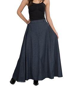 Crazy Cowgirl Women's A Line Long Denim Skirt