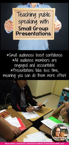 Teach Public Speaking with Small Group Presentations - Nouvelle ELA Teaching Resources Speech And Debate, Public Speaking Tips, Secondary Teacher, Presentation Skills, English Classroom, Teaching English, Small Groups, Teaching Resources, Classroom Resources