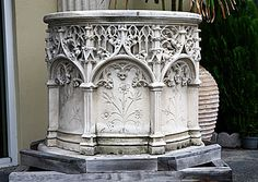 French Antique Carved Limestone Pulpit