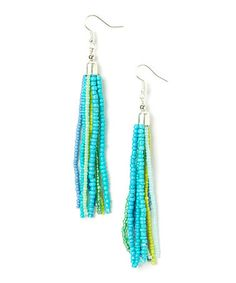 Love this Blue & Green Tassel Earrings on #zulily! #zulilyfinds