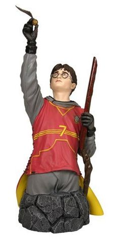Harry Potter in Quidditch Gear Mini Bust by Gentle Giant. $78.95. The Harry Potter in Quidditch Gear mini bust stands 9 inches tall.. He was a superb Seeker whose amazing feats of flying won many matches for the Gryffindor team. Collect the set with Weasley Quidditch bust. In his Seeker uniform, Harry examines the golden snitch held in raised right hand. Harry joined the team in his first year, the youngest house player in a century. Reach up and win! Harry joined the team in...