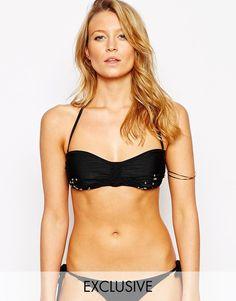 Bikini par South Beach Dos nu Encolure bandeau Motif noué en macramé Ornement de perles fantaisie Bretelles amovibles Fermoir sécurisé à l'arrière Lavage à la main 82% polyamide, 18% élasthanne