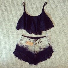 Dip dyed black high wasted shorts & a black crop top!