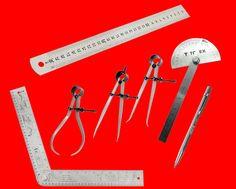 7 tlg Messwerkzeug Set Winkelmesser Metallzirkel Anreissnadel Stahlbandmaß TS/TP