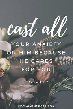 Bible Verses About Faith:anxiety, depression, bible verses, scripture; cast all your anxiety on him because he cares for you Scriptures About Fear, Bible Scriptures, Faith Bible, Healing Scriptures, Healing Quotes, Bible Verses About Worry, Bible Verses About Stress, Bible Verses About Nature, The Words