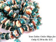 10 Czech Capri Beads Blue Ivory Picasso by allearringsandsuppli