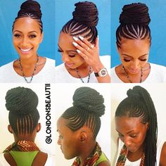 #LondonsBeautiiHairspiration #FeedingCornrows in a bun inspired by #KeriHilson & @drkariwill/@mahoganyrevolution. Done by London's Beautii located in Bowie, Maryland. https://www.styleseat.com/v/londonsbeautii