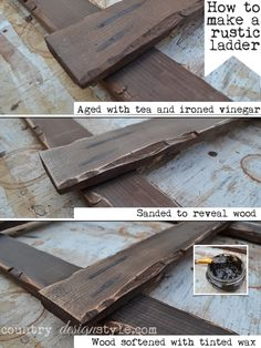 how-to-make-a-rustic-ladder-country-design-style-pin  Aging a vintage inspired ladder. #bestofdiy