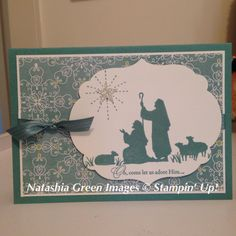 stampin up white christmas card ideas Christian Christmas Cards, Christmas Cards 2018, Religious Christmas Cards, Merry Christmas Card, Xmas Cards, White Christmas, Christmas Things, Christmas Nativity, Christmas 2017