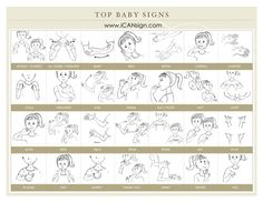 Our Top 30 Baby Sign Language Signs to make your caregiver's experience with your child easier! Baby Sign Language Reference Chart for Caregivers Baby Sign Language Chart, Sign Language For Toddlers, Sign Language Phrases, Sign Language Interpreter, Toddler Chart, British Sign Language, Lessons For Kids, Infant Activities, Business For Kids