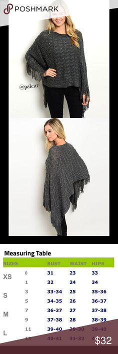 "25%OFF BUNDLES NEW The Quinn Fringed Poncho Say hello to your ""go to"" piece for the fall and winter.  Adorable fringed poncho with a touch of sparkle.  Material is 100%acrylic.  This item is , direct from the manufacturer without the specific store tag.   LIMITED QUANTITIES, I offer 25% off 2 items and FREE shipping on any single item over $25.  Simply ""offer"" $6 less than the price shown for any item over $25.   Please ask questions-I want you to be happy Paicar Concepts Sweaters Shrugs…"