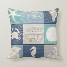 Beach Happy Place Blue Aqua Old Wood Sea Pillow - tap/click to get yours right now!  #blue #aqua #seahorse #sea #shells Gold Pillows, Accent Pillows, Throw Pillows, Diy Pillow Covers, Pillow Cover Design, Personalized Pillows, Custom Pillows, Cheap Decorative Pillows, Green Bedding