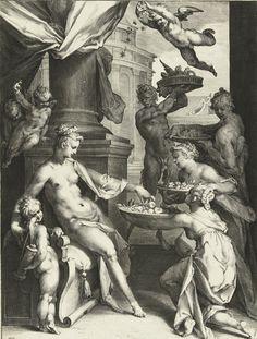 Bartholomeus Spranger; Jan Harmensz Muller Venus Honored by Nymphs and a Faun Netherlands (c. 1589) Engraving, 271 × 204 mm. Rijksmuseum, Amsterdam