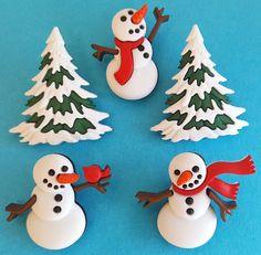 LET IT SNOW Christmas Snow Snowmen Snowman Tree Winter Dress It Up Craft Buttons