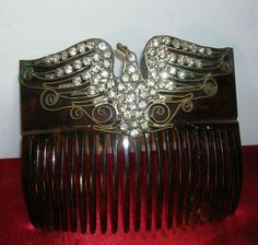 Antique Celluloid hair comb Eagle Rhinestones decoration Vintage hair Accessory
