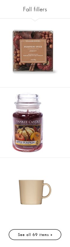 """""""Fall fillers"""" by korrashay ❤ liked on Polyvore featuring home, home decor, home fragrance, home scents, candles & candleholders, red home accessories, harvest home decor, red home decor, pumpkin home decor and country home decor"""