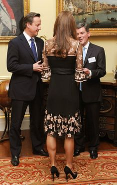 Catherine, Duchess of Cambridge (C) talks with British prime minister David Cameron and British sports minister Hugh Robertson during a reception held for Team GB Olympic and Paralympic London 2012 medalists at Buckingham Palace on October 23, 2012 in London, England. (October 22, 2012 - Source: WPA Pool/Getty Images Europe