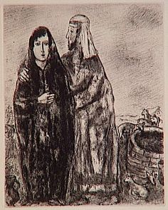 Meeting of Jacob and Rachel at the well (Genesis XXIX, 7, 10) - Marc Chagall