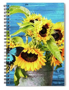 """This x spiral notebook features the artwork """"Sunflowers with blue butterfly"""" by Mihaela Pater on the cover and includes 120 lined pages for your notes and greatest thoughts. Notebooks For Sale, Tablet Cover, Lined Page, Blue Butterfly, Art Pages, Basic Colors, Custom Framing, Color Show, My Images"""